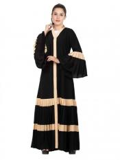 Mushkiya NIda Matte Gorgeous Front Open Abaya with Pleated Bottom and Bell Sleeves In Black And Fawn