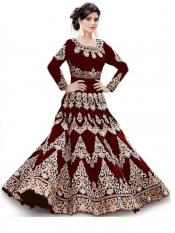 Trilok Fab Cotton Silk Embroidery Anarkali Gown in Image
