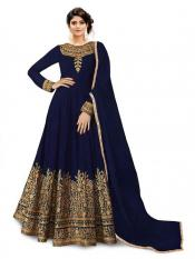 Trilok Fab Cotton Silk Anarkali Gown in Blue Image