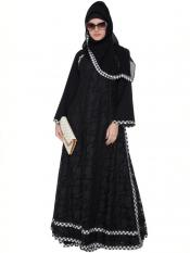 Mushkiya Nida Matte Husn Multi Layered Designer Abaya with Floral Net in Black