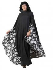Mushkiya Crepe Printed Irani Kaftan In Black And White