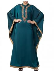 Mushkiya Royal Nida kaftan with Dabka Work In Green