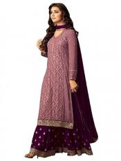 Pristive Fashion Hub Pure Georgette Embroidered Salwar Suit in Pink and Purple