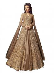 Fabzara Latest Embroidered Long Salwar Suit in Beige Image