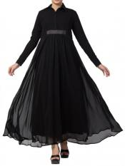 Mushkiya Nida Matte And Fine Georgette Modest Length Abaya In Black