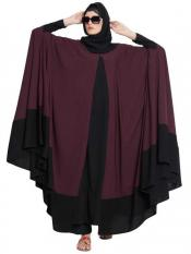 Mushkiya Nida Matte Doha Two Piece Designer Irani Kaftan in Wine and Black