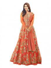 Fashion Basket Women's Anarkali Salwar Suit in Orange