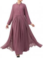 Mushkiya Nida Matte And Fine Georgette Modest Length Abaya In Puce Pink