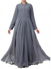 Mushkiya Nida Matte And Fine Georgette Modest Length Abaya In Grey