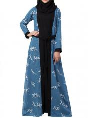 Mushkiya Nida Matte And Georgette Dual Layer Abaya With Printed Shrug Attached In French Blue And Black