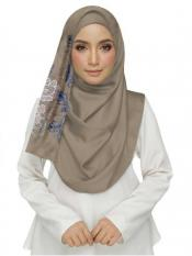 Stole For Women Cotton Designer Diamond Studed Embroidered Flower Hijab in Brown