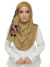 Stole For Women Cotton Designer Diamond Studed Embroidered Flower Hijab in Yellow