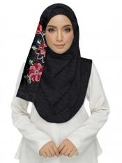 Stole For Women Cotton Designer Diamond Studed Embroidered Flower Hijab in Black