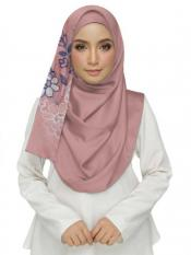 Stole For Women Cotton Designer Diamond Studed Embroidered Flower Hijab in Pink