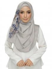 Stole For Women Cotton Designer Diamond Studed Embroidered Flower Hijab in White