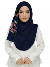 Stole For Women Cotton Designer Diamond Studed Embroidered Flower Hijab in Blue