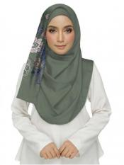 Stole For Women Cotton Designer Diamond Studed Embroidered Flower Hijab in Green