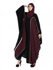 Mushkiya Nida Matte Dual Colour Kaftan in Black and Wine