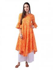 Aania Striped Pure Cotton Flared Kurti In Orange