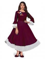 Rebikatrendz Embellished pure Georgette Anarkali Kurti In Purple