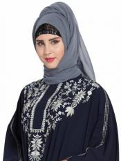 Bashariya Super Fine Georgette Long and Wide Stole Hijab in Grey