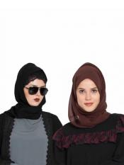 Bashariya Super Fine Georgette Set of Two Stole Hijabs in Black and Brown