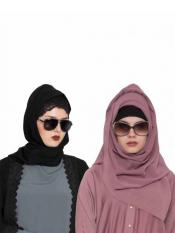 Bashariya Super Fine Georgette Set of Two Stole Hijabs in Black and Mauve