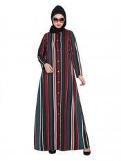 Mushkiya Crepe Front Open Abaya In Multicolour