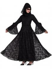 Mushkiya Nida Matte Dubai Style Designer Abaya With Bell Sleeves In Black
