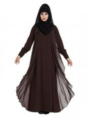 Mushkiya Georgette Modern Abaya Dual Layer In Brown