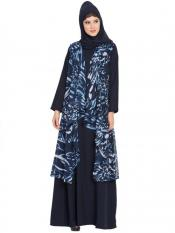 Mushkiya Printed Georgette Sleeveless Free Size Shrug in Navy Blue