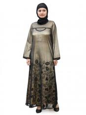 MyBatua Net Sabeen Abaya In Black And Gold
