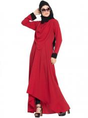 Mushkiya Nida Matte Abaya with Detatchable Shawl in Red
