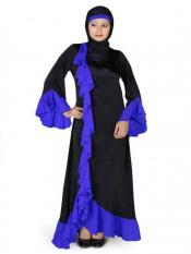 MyBatua Nida Matte Shireen Abaya Black And Royal Blue