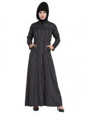 Mushkiya American Crepe Front Open Abaya With Stripes in Black and White