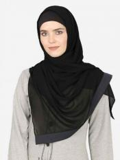 Nazneen Georgette Band Plain Hijab In Black And Grey
