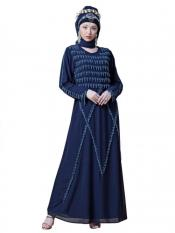 Nazneen Georgette Hand embroidered Party Abaya In Navy