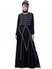 Nazneen Georgette Hand embroidered Party Abaya In Black