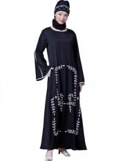 Nazneen Satin Front hand embroidered Bell Sleeve party Abaya In Black