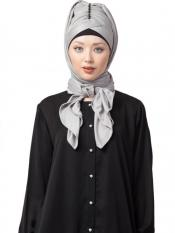 Nazneen Polyster Turban With Attached Hijab In Silver Grey