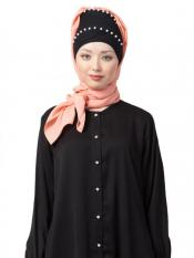 Nazneen 100% Cotton Pearl Work Turban with attached Hijab In Black And Peach