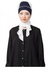 Nazneen 100% Cotton Pearl Work Turban With Attached Hijab In Navy And White