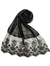 Stole For Women Square Shaped Cotton Stole With Flowerely Net Diamond All Over The Stole In Green