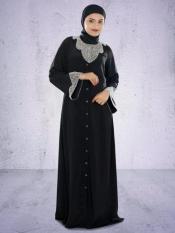 MyBatua Hifja  Hand Embroidered Burqa In Black