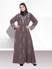 Nazneen Nida Matte A line Abaya With Full Hand embellished In Ash Brown