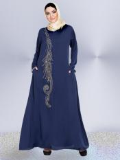 Nazneen 100% Polyester Satin Abaya With Front Embroidered Umbrella Cut In Navy Blue