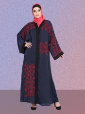 Nazneen 100% Polyester Satin Embroidered Abaya With Front Open In Navy Blue