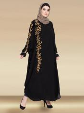 Nazneen 100% Polyester Satin Dubai Kaftan With Thread Embroidered Butterfly In Black and Gold