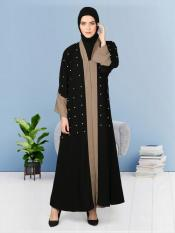 100% Polyester Crepe Dubai Kaftan Contrast Band With Cuff Pearls Beaded in Black and Khaki