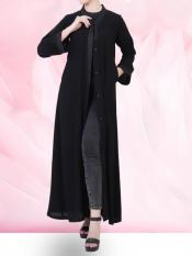 Nida Matte Front Open Abaya In Arabian Fit With lacework Comes and Complementary Hijab in Black